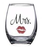 Mrs Wine Glass With Red Lips